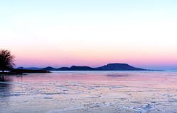 Sunset at Lake Balaton in winter time, Hungary Royalty Free Stock Images