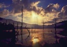 Sunset at the Lake Ban Rak Thai, Mae Hong Son province. Royalty Free Stock Image