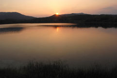 At sunset on Lake Banyoles , Girona Stock Photo