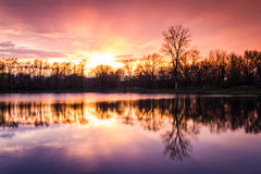 Sunset on the lake Stock Photography