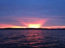 Sunset lake stock image