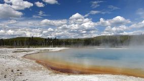 Sunset lake in Black Sand Basin, Yellowstone National Park, Wyoming stock video footage