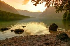 Sunset on the lake Bohinj Stock Photo