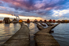 Sunset lake Bokod with pier Royalty Free Stock Images