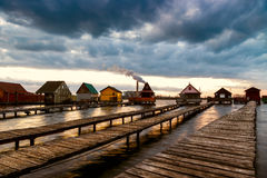 Sunset lake Bokod with pier Royalty Free Stock Photography