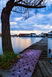 Sunset lake Bokod with pier Stock Image