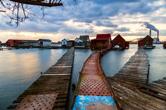 Sunset lake Bokod with pier Stock Images