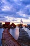 Sunset lake Bokod with pier Stock Photography