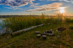 Sunset Lake Camping Fireplace Royalty Free Stock Photography