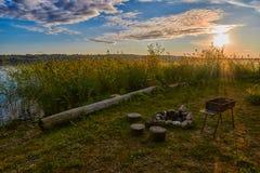 Sunset Lake Camping Fireplace Royalty Free Stock Photography