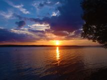 Sunset on Lake Chatautauqua Royalty Free Stock Images