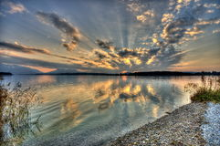 Sunset at lake Chiemsee Royalty Free Stock Photography