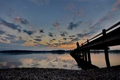 Sunset at lake Chiemsee Royalty Free Stock Images