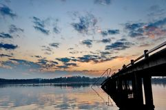 Sunset at lake Chiemsee. In Germany Stock Photos