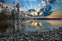 Sunset at lake Chiemsee Royalty Free Stock Photos
