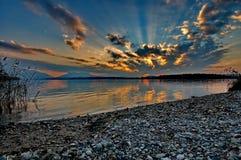 Sunset at lake Chiemsee Stock Photos