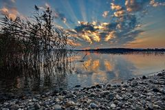 Sunset at lake Chiemsee Stock Photo
