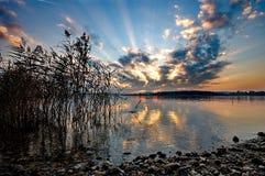 Sunset at lake Chiemsee Stock Photography
