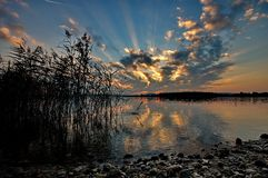 Sunset at lake Chiemsee Stock Photography