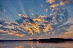 Sunset at lake Chiemsee Royalty Free Stock Photos