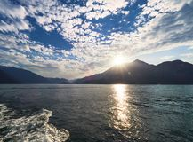 Sunset on Lake Como in Italy Stock Image