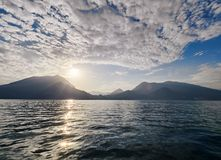 Sunset on Lake Como in Italy Stock Photos