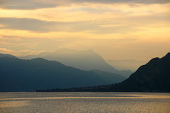Sunset on the lake Como, Italy Stock Images