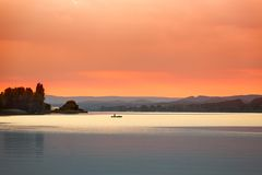 Sunset at Lake Constance (Bodensee) near Reichenau, Germany Stock Image