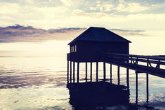 Sunset at Lake Constance in Europe -beach house. Sunset at Lake Constance in Europe Royalty Free Stock Photo