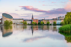 Sunset by the lake in Copenhagen. A Copenhagen sunset view Royalty Free Stock Photography