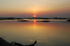 Sunset on a lake. The evening landscape is sunset on a lake Royalty Free Stock Images