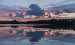 Sunset in lake of Everglades National Park stock photo