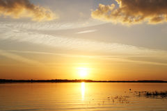 Sunset at the lake. In Florida Royalty Free Stock Photo