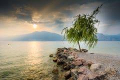 Sunset at Lake Garda Royalty Free Stock Images