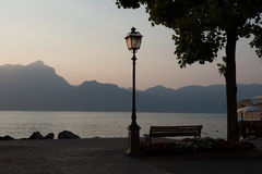 Sunset at lake Garda, Torri del Benaco, italy Stock Photo