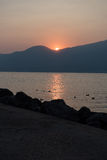 Sunset at lake Garda, Torri del Benaco, italy Stock Images