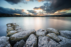 Sunset on Lake Geneva in Geneva, Switzerland Stock Photography