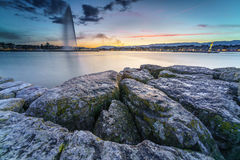 Sunset on Lake Geneva in Geneva, Switzerland Royalty Free Stock Photography