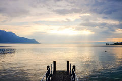 Sunset at Lake Geneva. In Montreux, Switzerland Royalty Free Stock Photography