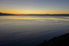 Sunset at Lake Geneva. Near Vevey, Vaud, Switzerland Royalty Free Stock Images