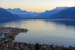 Sunset at Lake Geneva. Near Vevey, Vaud, Switzerland Stock Images
