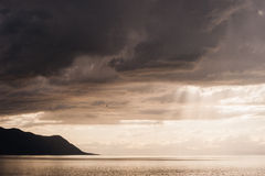 Sunset on Lake Geneva rainy day. Sunset on Lake Geneva on rainy day Royalty Free Stock Image
