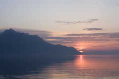 Sunset on Lake Geneva, Switzerland.  Stock Images