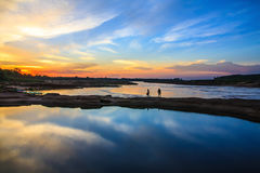 Sunset on the lake. Holidays,nature,landscape,suset at 3000 bok esan thailand royalty free stock photography