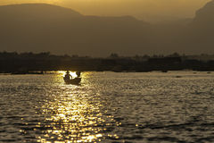 Sunset on Lake Inle Royalty Free Stock Photography