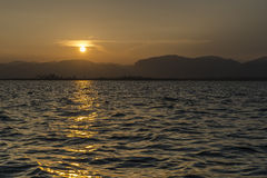 Sunset on Lake Inle royalty free stock photos
