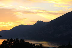 Sunset on Lake Iseo Stock Photo