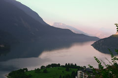 Sunset at lake in Italian Alps Stock Photography