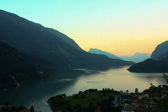Sunset at lake in Italian Alps Royalty Free Stock Images