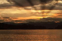 Abstract Sunset at lake in Thailand Stock Photography
